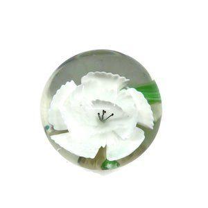 Murano Art Glass Paperweight with White Flower